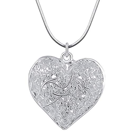 HUAMING Women Silver Plated Heart Carved Pendant Necklace Fashion Jewelry Charm Heart Hollow Necklace Dainty Elegant Retro (Silver)