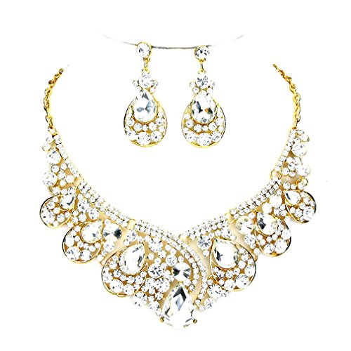 [Clear Rhinestone Crystal Statement Gold Necklace Chandelier Earrings Set Affordable Wedding Jewelry] (Affordable Costumes)