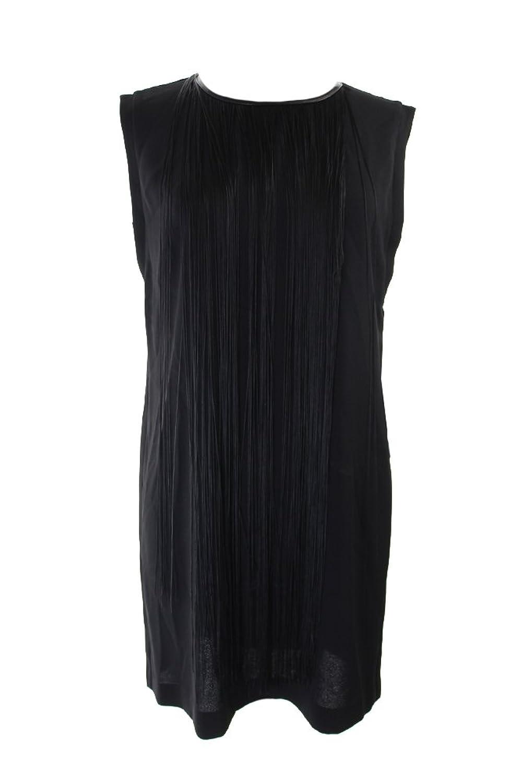 Alfani Black Sleeveless Fringe-Trim Shift Dress