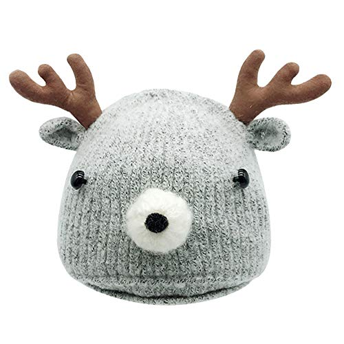 Amiley Baby Knit Hat,Baby Infant Toddler Kid Winter Deer Horn Crochet Beanie Cap (Gray) ()