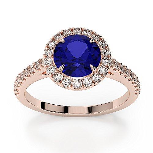 Or Rose 18carats 1,28CT G-H/VS sertie de diamants Saphir de coupe ronde et bague de fiançailles Agdr-1215