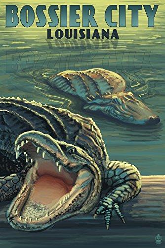 Bossier City, Louisiana - Alligator Scene (12x18 Fine Art Print, Home Wall Decor Artwork Poster)
