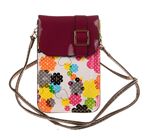 Nine States PU Leather Gel Cross Body Floral Pritning Cellphone Purse/Wallet for Apple iPhone Samsung and Other Mobile Phone with Magnetic Button + One Nine States Logo Pouch Red