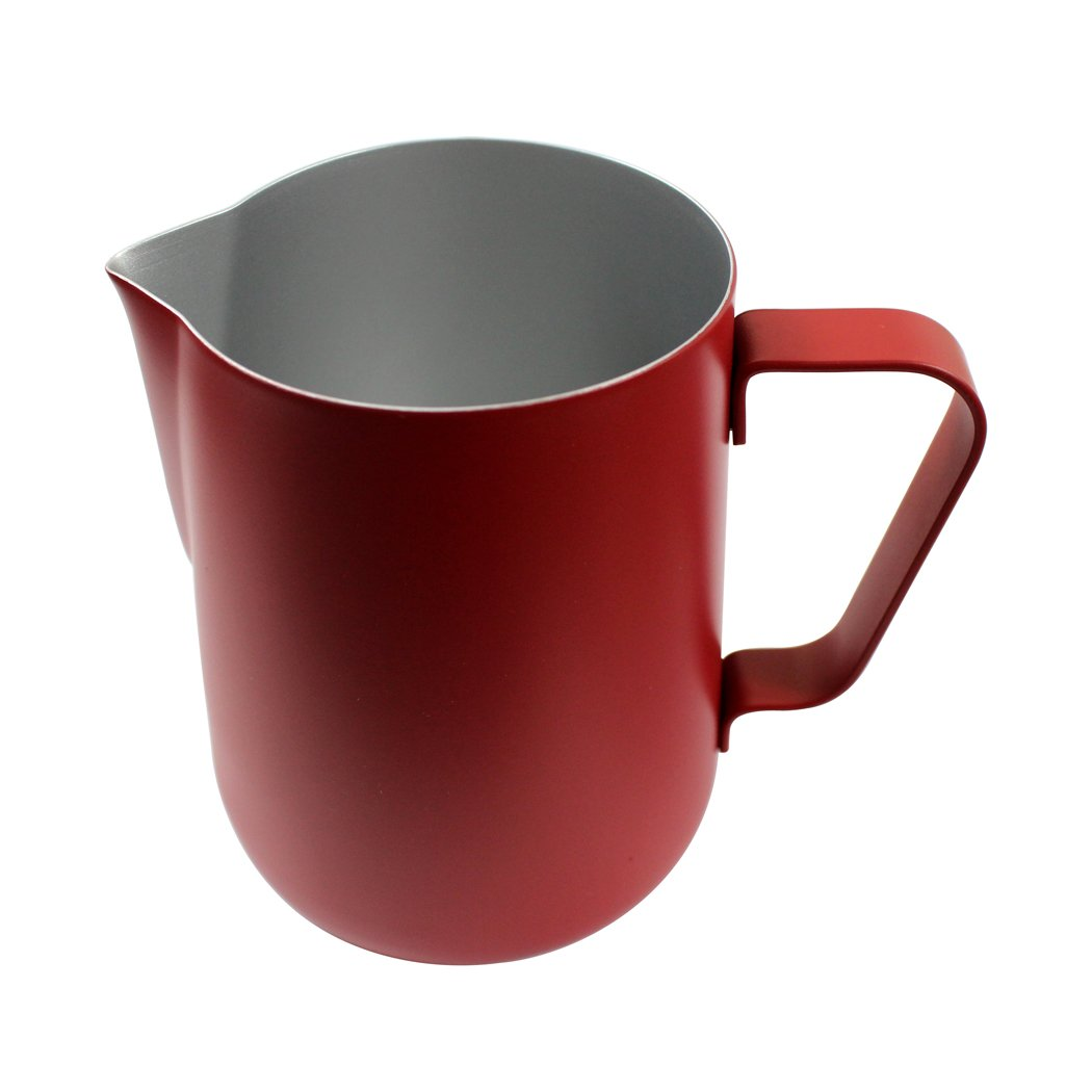 Dianoo Milk Pitcher, Stainless Steel Milk Cup, Good Grip Frothing Pitcher, Coffee Pitcher, Espresso Machines, Milk Frother & Latte Art, 1PCS (350ML) - Red