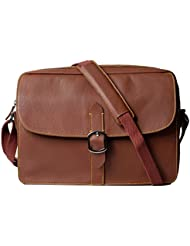 Leather Messenger Bag/Shoulder Bag for Men and Women, DYLAN, Medium Size, Lightweight, Office/Business Bag fits...