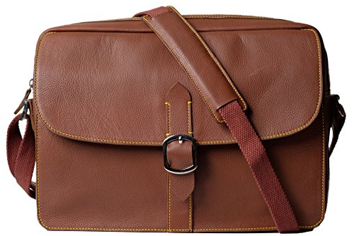 Leather Messenger Bag/Shoulder Bag for Men and Women, DYLAN, Medium Size, Lightweight, Office/Business Bag fits 13-14'' Laptop, 14 inch by 10.5 inch by 4 inch(Tan), by Ladderback by Ladderback