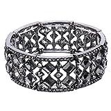 BriLove Women's Bohemian Boho Crystal Radiant Cut Round Beaded Stretch Bangle Bracelet Grey Black-Silver-Tone