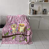 maisi Owls Digital Printing Blanket Owls Love Valentines on Branch Polkadots Leaves Hearts Romance Summer Quilt Comforter 62x60 Inch Pale Pink Apple Green Pale Yellow