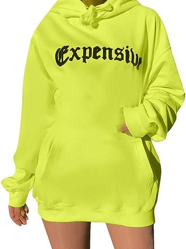 ZORE 💃 Suéter de Mujer costoso Estampado de Letras con cordón Camisa Larga Fluorescente con Capucha de Manga Larga (EU:36, Verde): Amazon.es: Ropa y accesorios