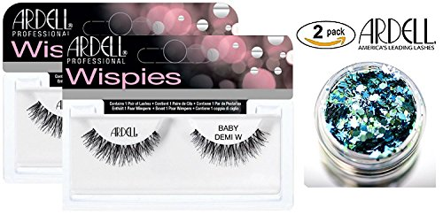Ardell Professional NATURAL Lashes, BABY DEMI WISPIES (2-PACK with bonus Skin/Hair Glitter) (Baby Demi (2-PACK))