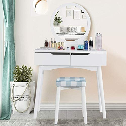 CHARMAID Vanity Set with Large Round Mirror and 2 Sliding Drawers, Makeup Set with Cushioned Stool, Solid Wood Legs, Tilting Preventing Device, Dressing Table for Women and Girls White