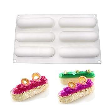 molde de silicona pastel 3d, moldes silicona para postres pudín, 6 cavidades Forma de larga oval, Blanco: Amazon.es: Hogar