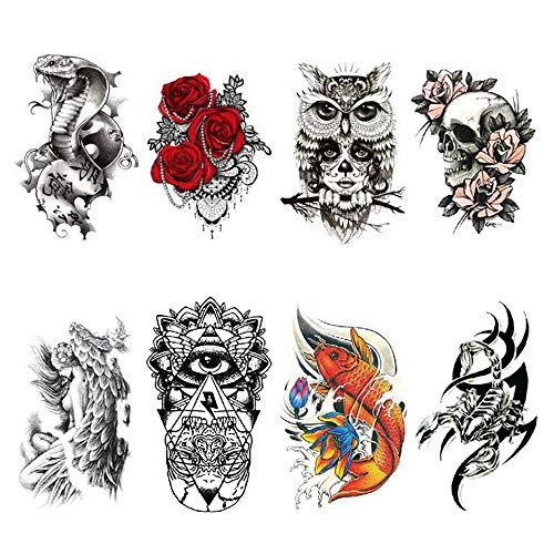 (Halloween Temporary Tattoos Sticker Glitter Red Roses Flower Skull Eagle Owl Fish Tiger Wolf Cross Feather Fake Waterproof Removable Scary Face Tattoos For Halloween Masquerade Cosplay Makeup)
