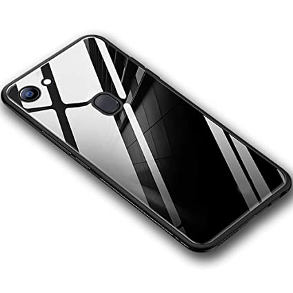 sports shoes 53afb badce TheGiftKart Luxurious Toughened Glass with Shockproof TPU Bumper Back Cover  for Oppo F7 (Black)