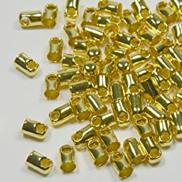 Cord End, Glue-in Style, Gold-plated Brass, 5.5x3.5mm with 2.5mm Hole. Sold Per Pkg of 100.