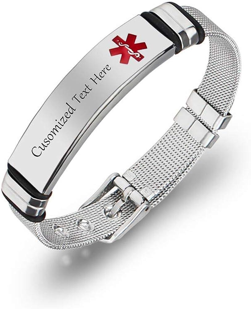 LiFashion Free Engraving Customised Medcial Alert Bracelet - Stainless Steel Mesh Belt Chain Medic Emergency ID Bracelets Custom Allergy Medical Identification Jewelry for Men Women Adjustable