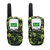 Kids Walkie Talkie Wireless Two Ways Radio Toy T-388 3 Miles Range 22 Channels Built in Flash Light FRS GMRS Birthday Gift Mini Walkie Talkie for Outdoor Adventures Camping Hiking Set of 2 Army Green