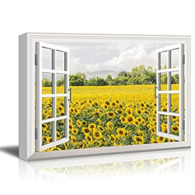 Canvas Wall Art - Peering into a Field of Sunflowers - Giclee Print Gallery Wrap Modern Home Art Ready to Hang - 12x18 inches