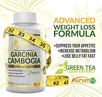 AurumRX All Natural 100% Pure Supplement Garcinia Cambogia With Green Tea Leaf Extract - Appetite Suppressant, Carb Blocker, Weight Loss Program Pills in Veggie Capsules