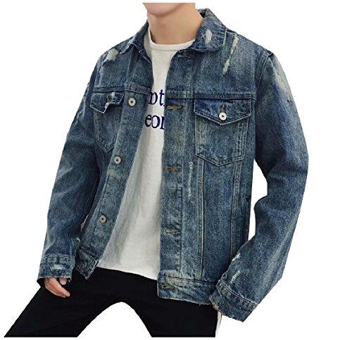 Denim Chest Men Jacket Coat Pockets Howme 3 Turn Collar Down Button xdHww0qEP