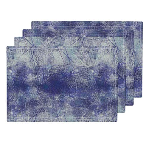 Abstract Landscape Art 4pc Linen Cotton Canvas Cloth Placemat Set - Crosshatch Drawing Ink Brush Stroke Paint Painterly Texture Lapis Lazuli Lavender B Blue Blau by Wren Leyland (Set of 4) 13 x 19in