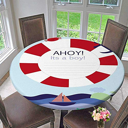 Chateau Easy-Care Cloth Tablecloth a Boy Announcement Card Inspired Composition Maritime Funny Sea Animals Multicolor for Home, Party, Wedding 47.5