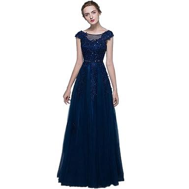 2e4b8d4f8 nymph Mujer Vestido de Noche Largo Elegante Con Cuentas Manga Larga Para  Fiesta Azul Marino 46  Amazon.es  Ropa y accesorios