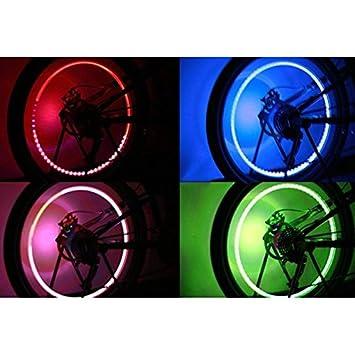HuntGold 2 X para bicicleta Ciclismo Motocicleta Rueda de Coche de válvula de rueda habló luz LED lámpara: Amazon.es: Coche y moto