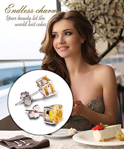 UHIBROS Sterling Silver Birthstone Stud Earrings Round Cubic Zirconia Diamond November