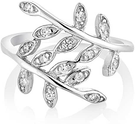 925 Sterling Silver Cubic Zirconia CZ Filigree Bay Ivy Leaves Leaf Vine Ring Jewelry Size 6, 7, 8