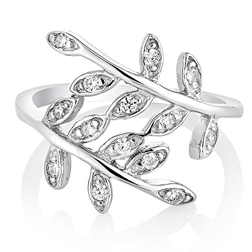 925 Sterling Silver Cubic Zirconia CZ Filigree Bay Ivy Leaves Leaf Vine Ring Jewelry Size 8