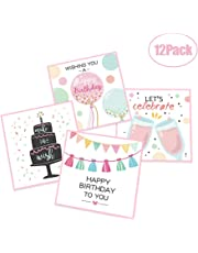 DxJ 12-Count Happy Birthday Greeting Cards - Happy Birthday Invitation Cards Blank on The Inside,Birthday Party Supplies 12 Cards + 12 Envelopes ,4 Style Designs 4.9 x 4.9 Inches