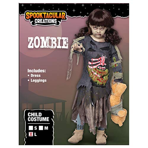 Scary Halloween Zombie Girl Living Dead Monster Child Costume for Girls (Large 10-11) Grey - http://coolthings.us
