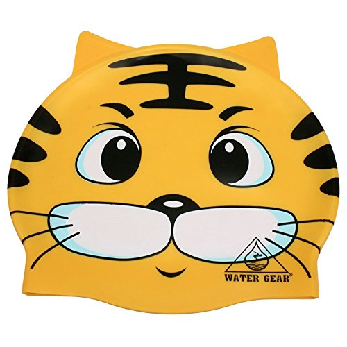 Water Gear Critter Silicone Swim Cap, Tiger, One - Gear Fins Water Swim