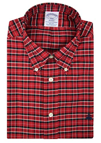 Brooks Brothers Mens Regent Fit Supima Cotton Embroidered Button Down Shirt Red Black Plaid ()