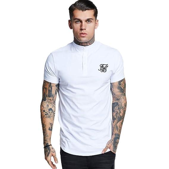 f2783f645093c7 SikSilk Men's Jersey Grandad Collar T-Shirt, Black: Amazon.co.uk ...
