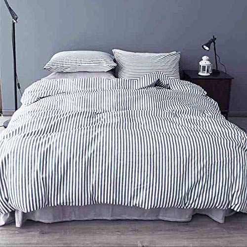 Striped Queen Duvet Cover Set , 3 Piece - 1200TC Hypoallergenic Microfiber Bedding Comforter Quilt Cover Zip Closure, Tie - Best Modern Style for Men and Women, Navy Blue and White (Queen, Striped)