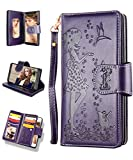 Samsung S9 Case,Galaxy S9 Wallet Case,FLYEE 9 Card Slot PU Leather Magnetic Protective Cover with Mirror and Wrist Strap for Samsung Galaxy S9 5.8 inch Purple