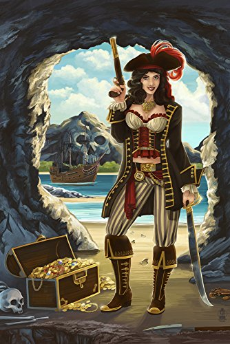 Pirate Pinup Girl (9x12 Fine Art Print, Home Wall Decor Artwork Poster)