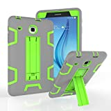 MAKEIT CASE Galaxy Tab E 8.0 Case With Stand Heavy Duty Shockproof High Impact Hybrid Resistant Bumper Protective Case Cover for Samsung Galaxy Tab E 8.0''T377/T375 Tablet (Gray/Fluorescent green)