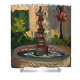 Pixels Shower Curtain (74'' x 71'') ''La Quinta Resort Fountain''