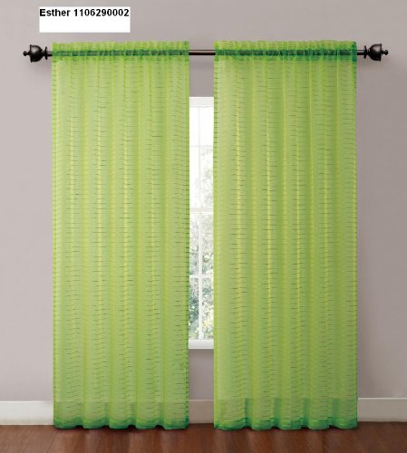 (Striped Sheer Window Curtain Panel : 55 X 90in, Hot Vibrant Colors (Lime Green) )