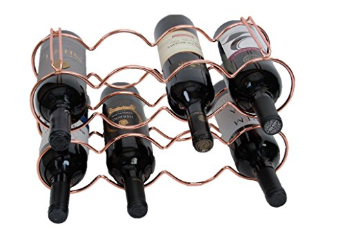 (Elaine Karen Deluxe 8 Bottle Stackable Wine Rack Storage Organizer, Wine Stand - Copper)