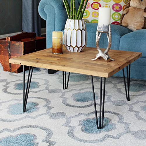 WELLAND Square Old Elm Coffee Table with Metal Stand, Brick Wall Shape Pattern ()