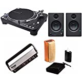 Audio-Technica AT-LP1240-USB XP Direct-Drive Professional DJ Turntable with Presonus Eris-E3.5 Studio Monitors and Knox Cleaning Kit