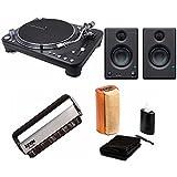 Audio-Technica AT-LP1240-USB XP Direct-Drive Professional DJ Turntable with Presonus Eris-E3.5 Studio Monitors and Knox Cleaning Kit