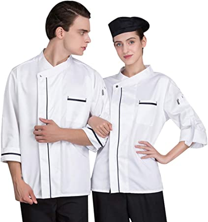 Otoño e Invierno Unisexo Chef Ropa de Cocina Camisa Manga Larga Chaqueta de Cocinero,Blanco,XL: Amazon.es: Hogar