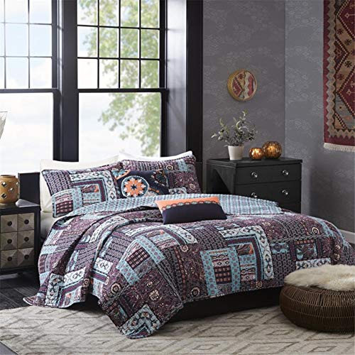 Josie by Natori 5 Piece Woodblock Patchwork Reversible Quilt Set, Full/Queen, -