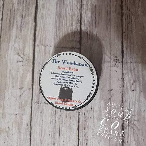 Beard Balm. The Woodsman. Try them all. Cedarwood. Sandalwood. Eucalyptus. Shea butter. Mango butter. Vitamin E. Beeswax. 1 -