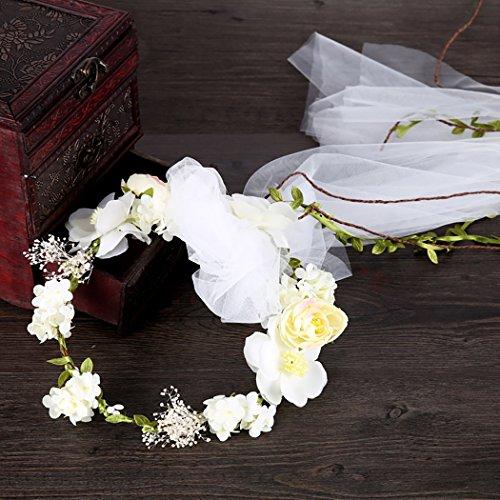 Coxeer Flower Veil Headbands, Flower Wreath Headband Crown Bridal Veil Flower Crown White Girls Headpiece for Wedding Festival Photo Shoot Bachelorette Party